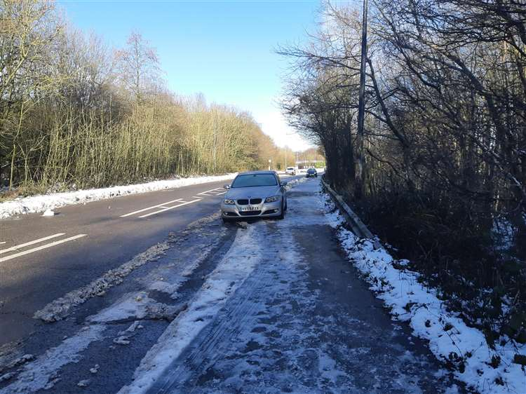 Abandoned cars are still stranded on Walderslade Woods Road (6931286)