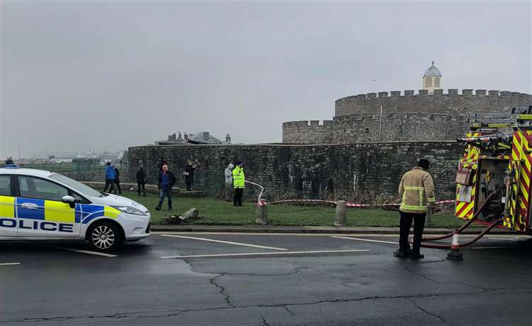 A car has crashed into Deal Castle's moat. Picture: John Sheridan