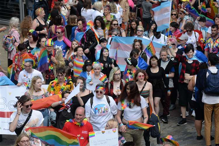 A Pride Parade in Canterbury last year. Picture: Chris Davey
