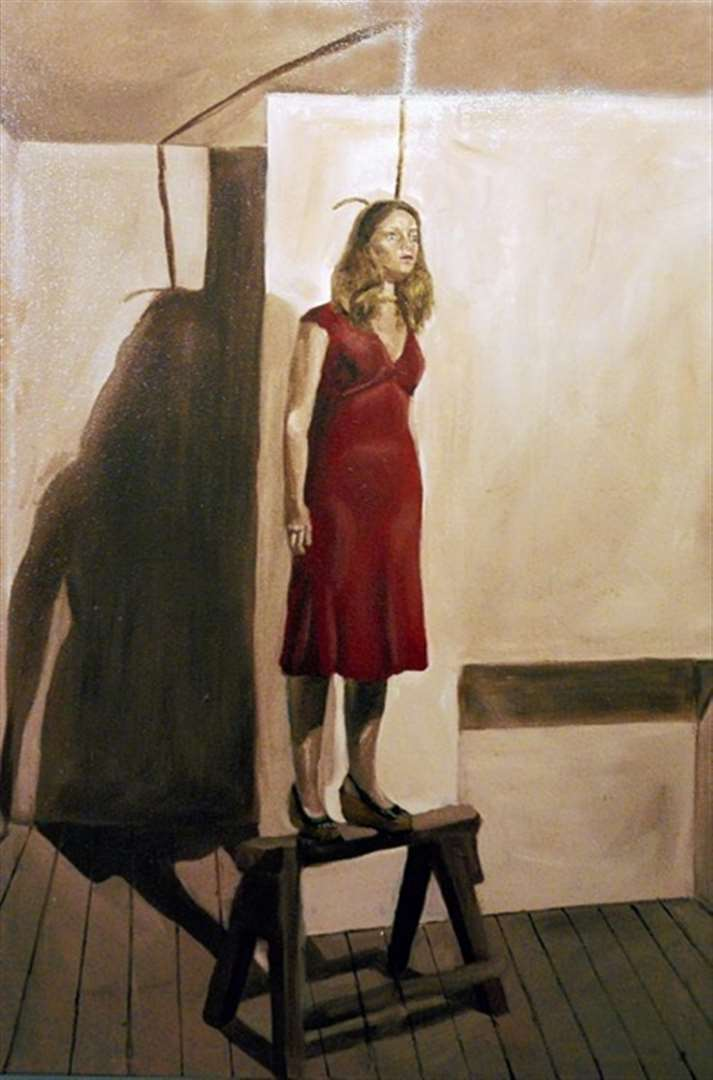 The disturbing painting of a woman about to commit suicide by artist Rosie Taylor