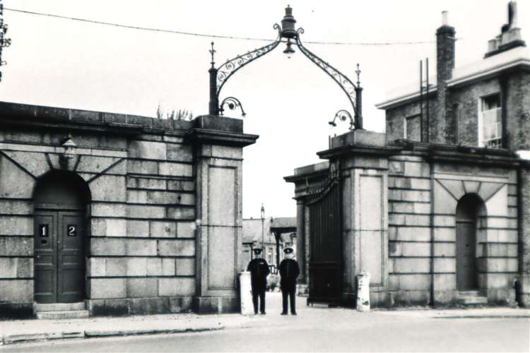 The impressive main gate of Sheerness Naval Dockyard in 1959 just before it was closed. Picture: David Hughes