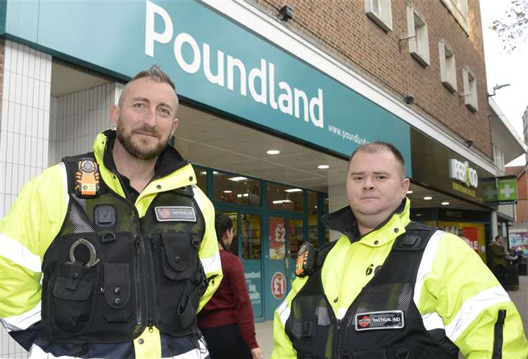 Canterbury Poundland.Security guards Peter Hunt and Dan Stannard came to the aid of Poundland staff..Picture: Paul Amos