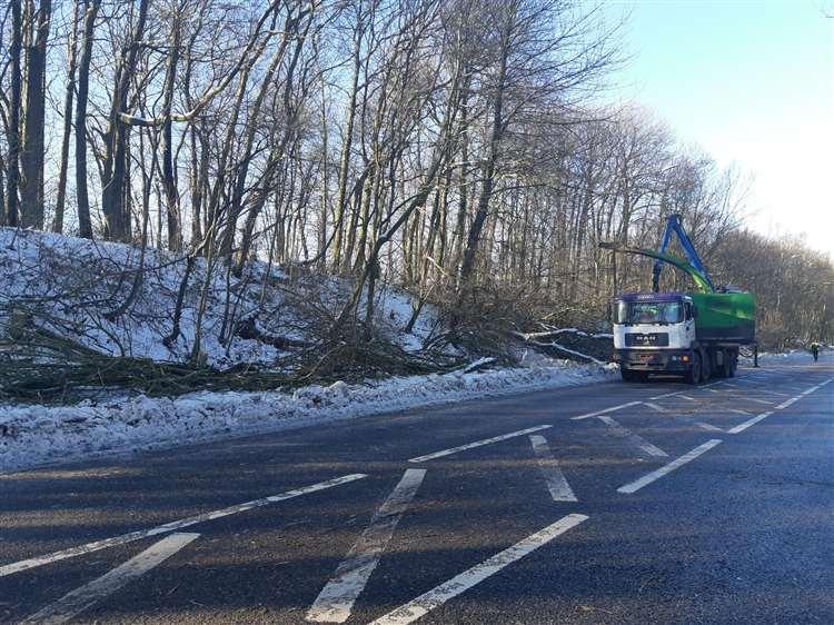 Multiple trucks are on Walderslade Woods Road to shred the debris (6931302)