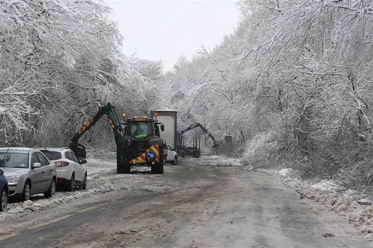 Work continues to clear Walderslade Woods Road. Picture: Mike Mahoney (6928390)