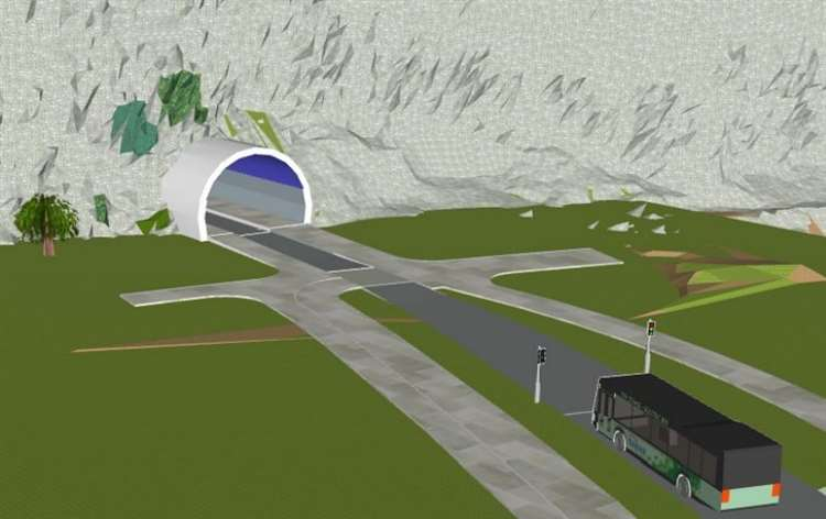 An artist's impression of what the tunnel would look like from the Fastrack spine approach. Picture: KCC(21994520)