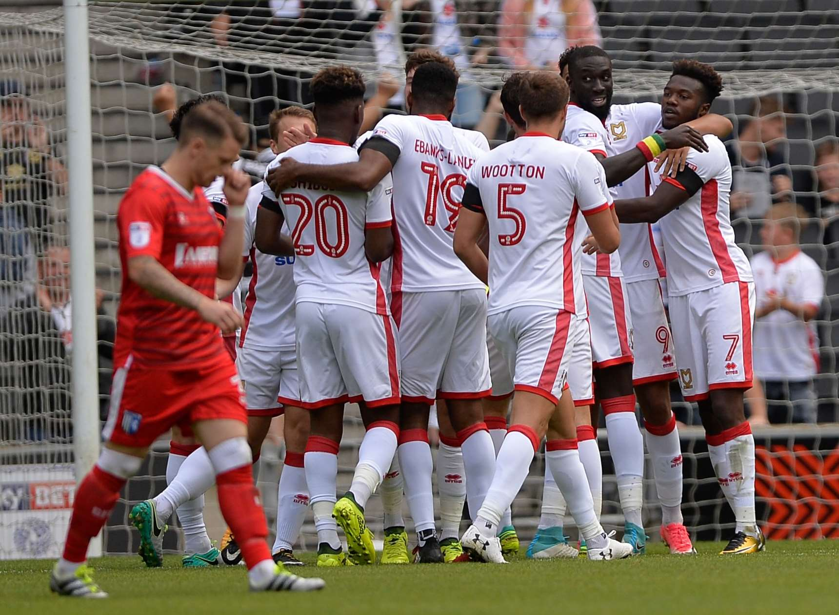 MK Dons celebrate their goal on Saturday. Picture: Ady Kerry