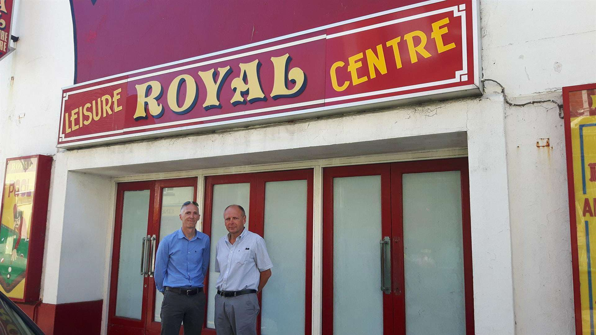 Designer Mike West and project manager Nick Stevens outside Royal Leisure Centre (3424221)