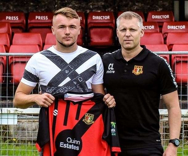 Harry Taylor with Brickies boss Chris Lynch after signing from Millwall Picture: Sittingbourne FC