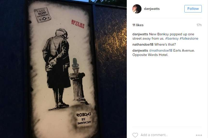 Dan Watts posted the picture of the artwork standing on his Instagram account