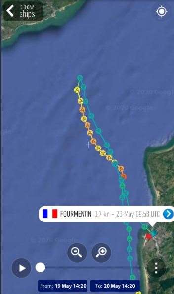 The route of the French law enforcement ship Furmentin yesterday