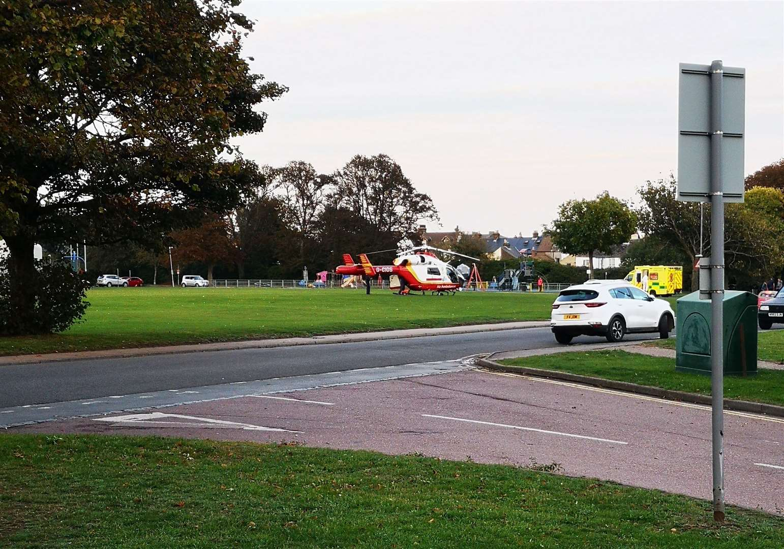 Emergency services were spotted at Victoria Park in Park Avenue, Deal Picture: Daniel Hodgson