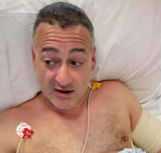 Roy Larner in hospital after the terror attack in 2017