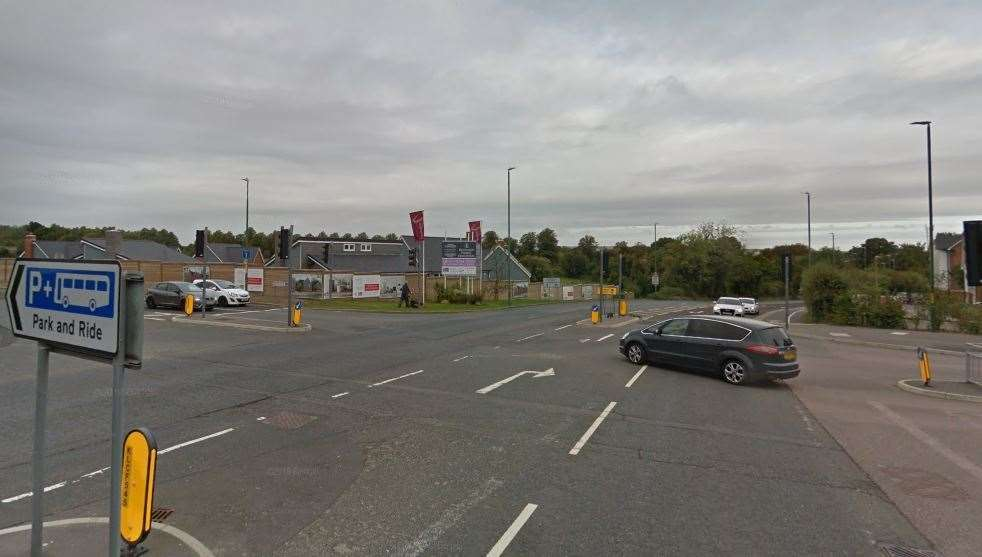 London Road in Allington, at the junctoin with Beaver Road for Maidstone Park and Ride (10437630)