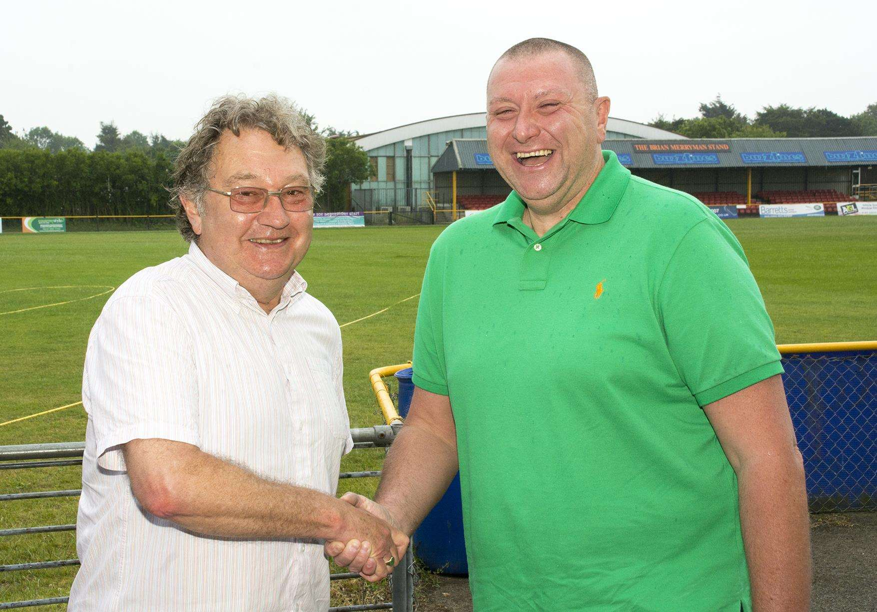 Director Jim Pellatt with Folkestone Invicta chairman Paul Morgan