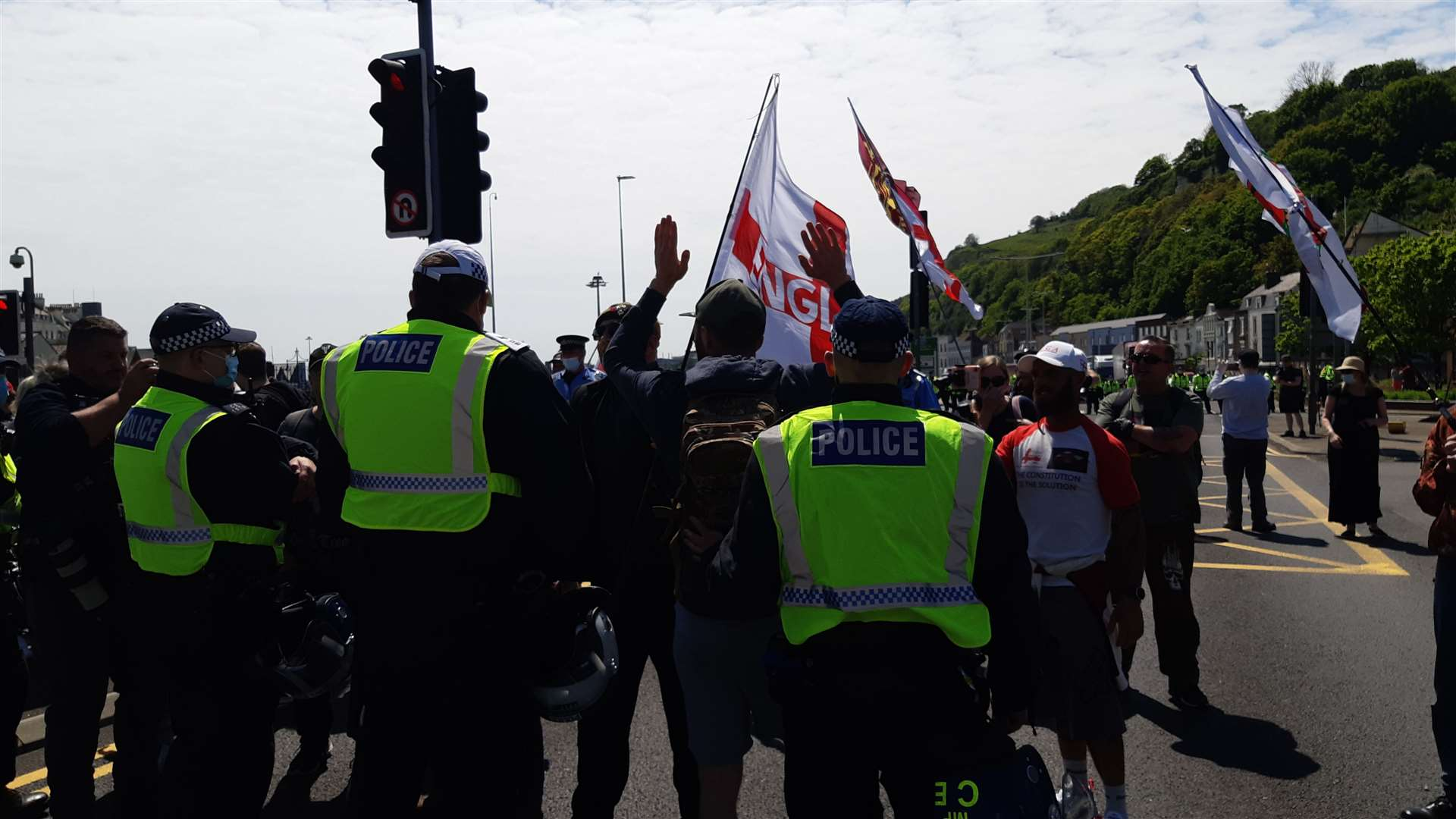 The protest at Snargate Street Photo: Sam Lennon