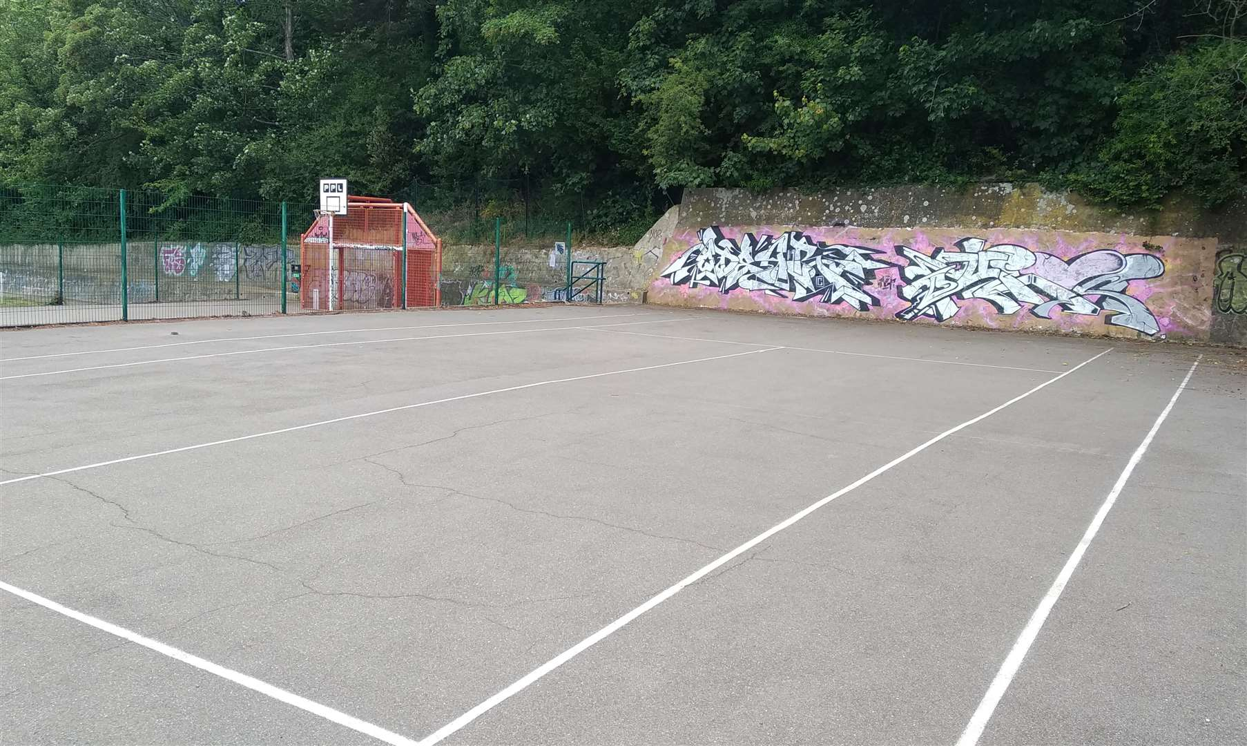 The tennis net has been removed after being broken. Picture: Cllr Tim Prater