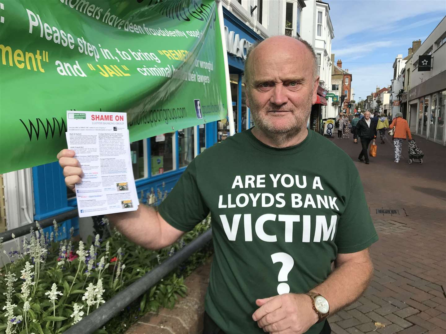 Bryan Henderson, a formed town councillor, campaigned in Deal High Street