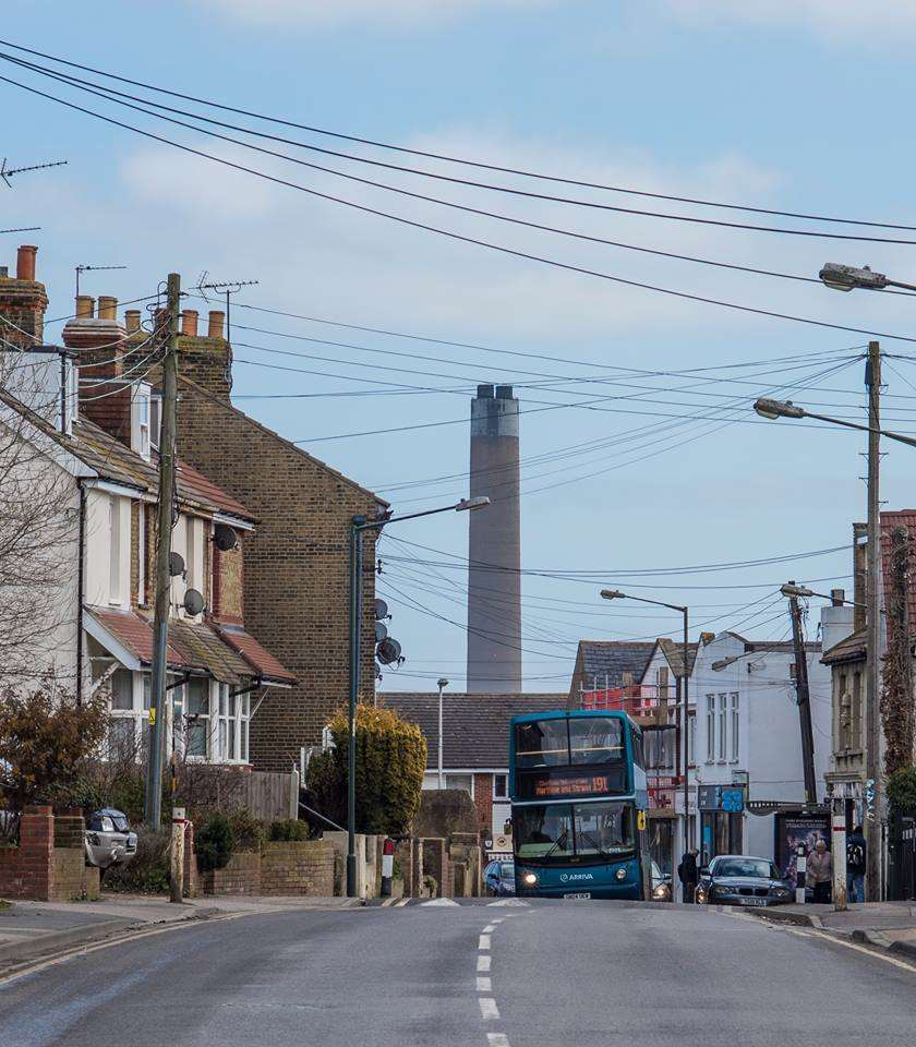 Chris Pickett took this photo of the Kingsnorth Chimney from Main Road, Hoo. (1259907)