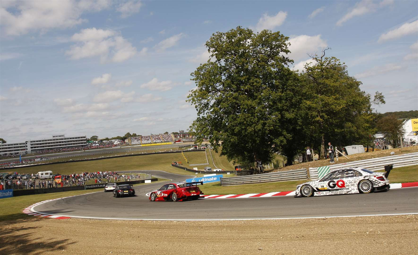 The DTM field exits Druids during the 2009 event at Brands Hatch. Picture: Peter Still