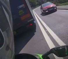 The footage also captured the dangerous overtaking on the double white lines