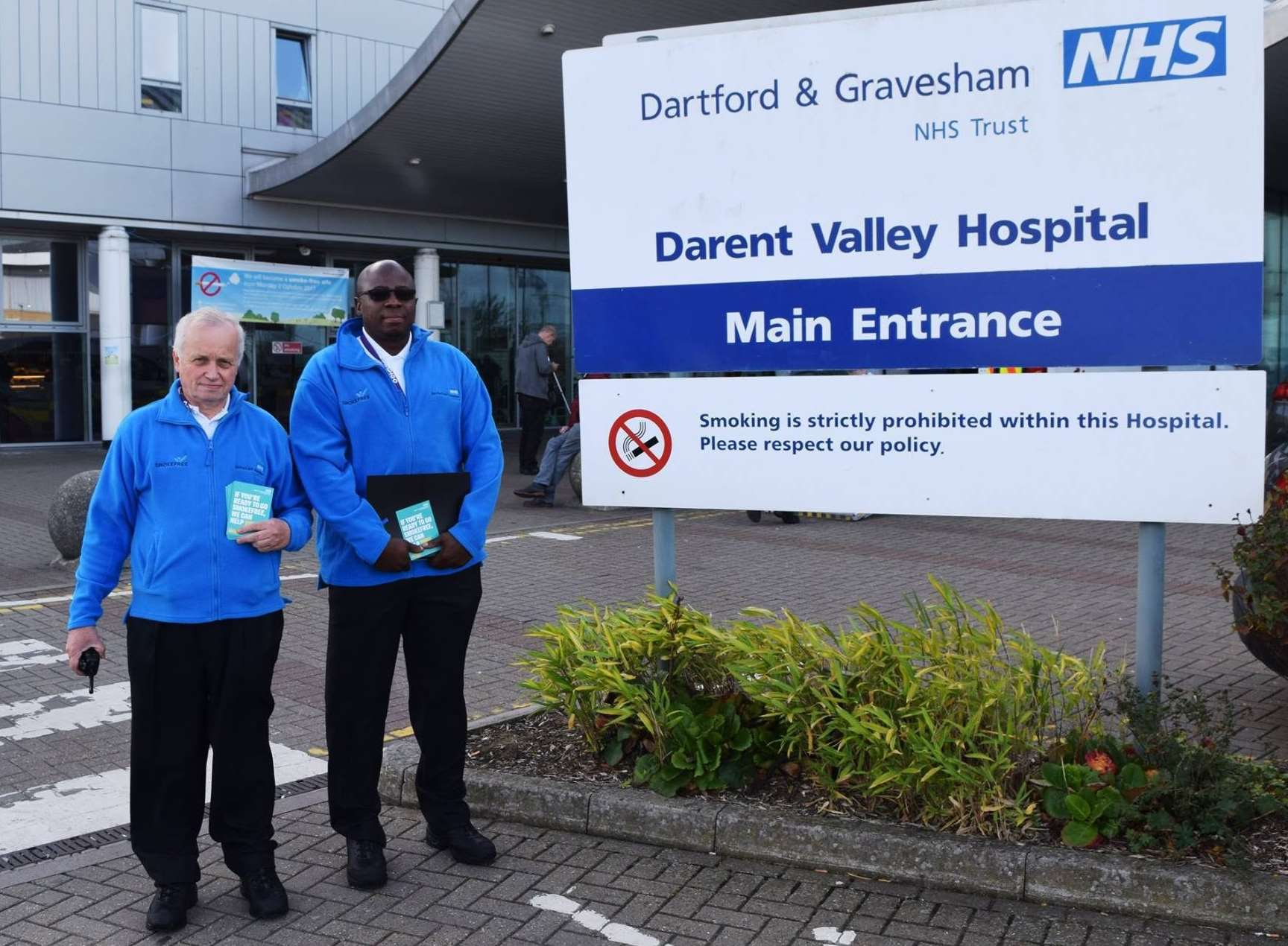 Wardens Bob and Charles on patrol at Darent Valley Hospital