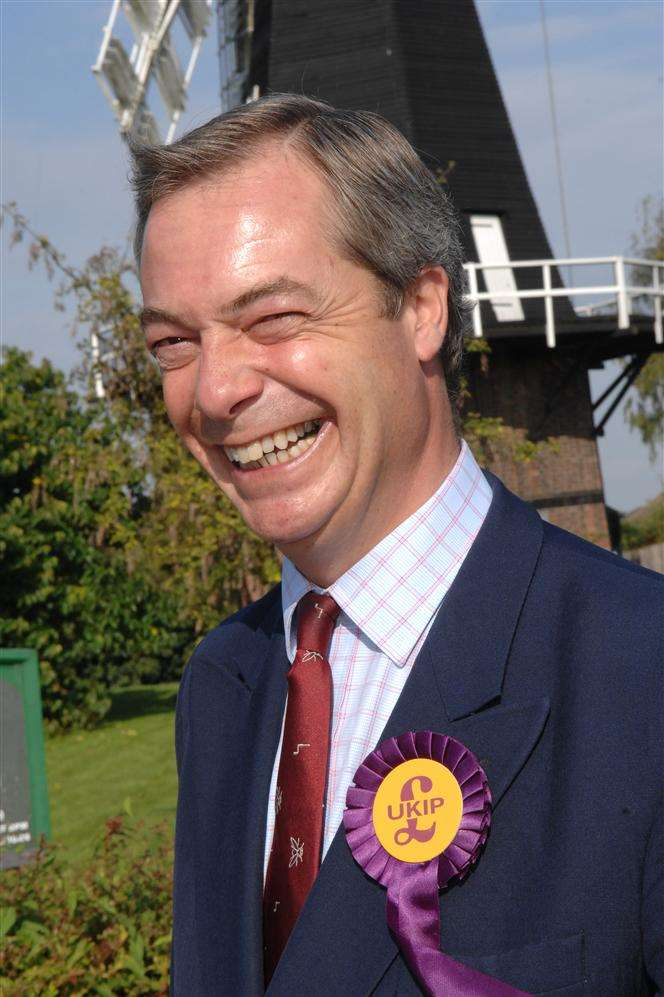 UKIP leader Nigel Farage on a visit to Kent