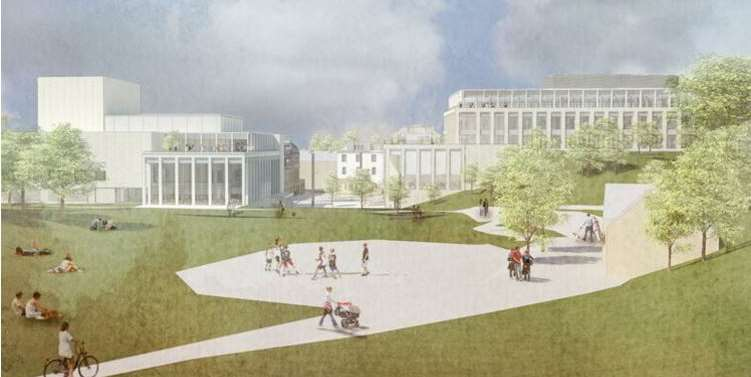 An artist's impression of the proposed civic centre from Calverley Grounds