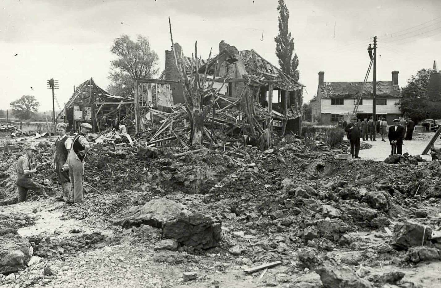This was the devastation caused when a V1 flying bomb fell in Smarden, near Ashford, in October 1944