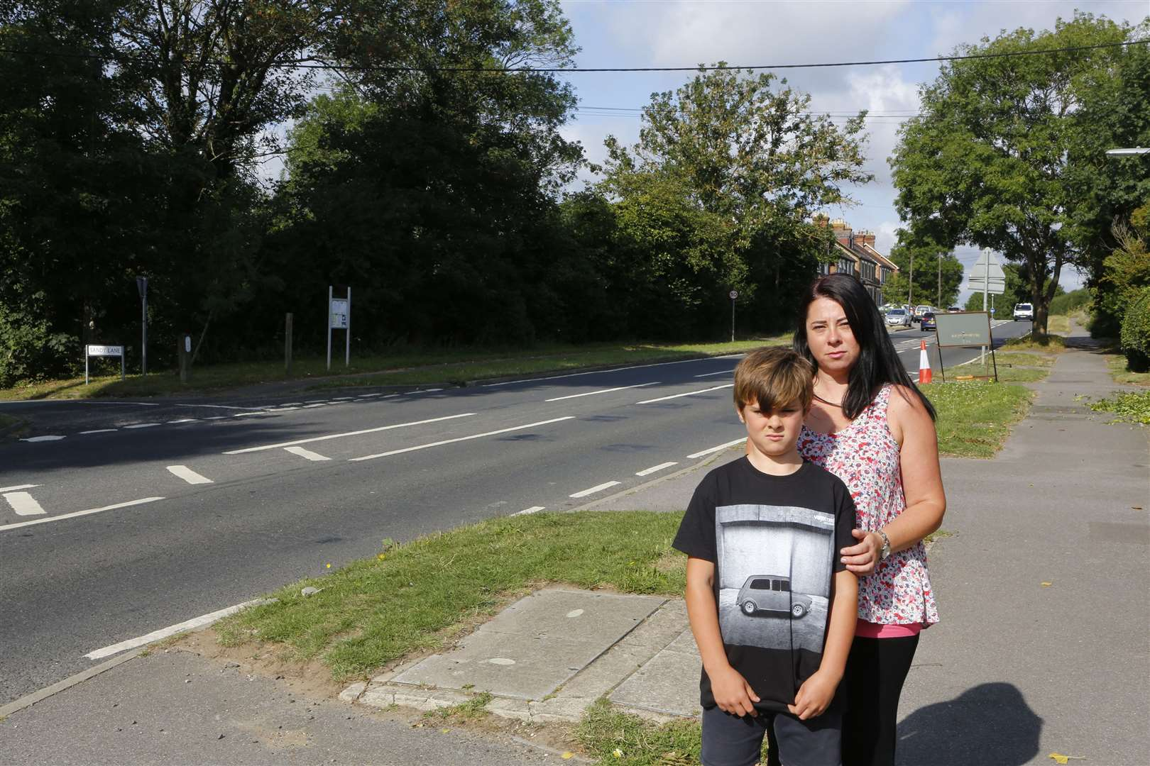 Caroline Martin with son Loris beside London Road, Ryarsh Picture: Andy Jones