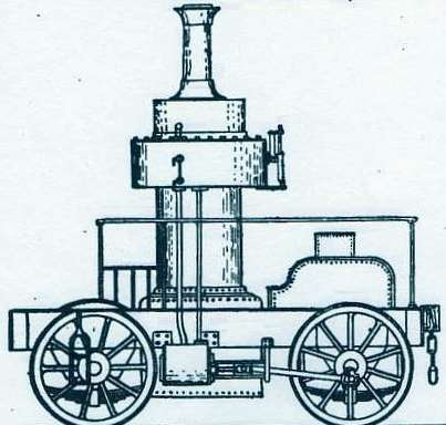 A drawing of the Coffee Pot Train that was built in Ashford in 1850