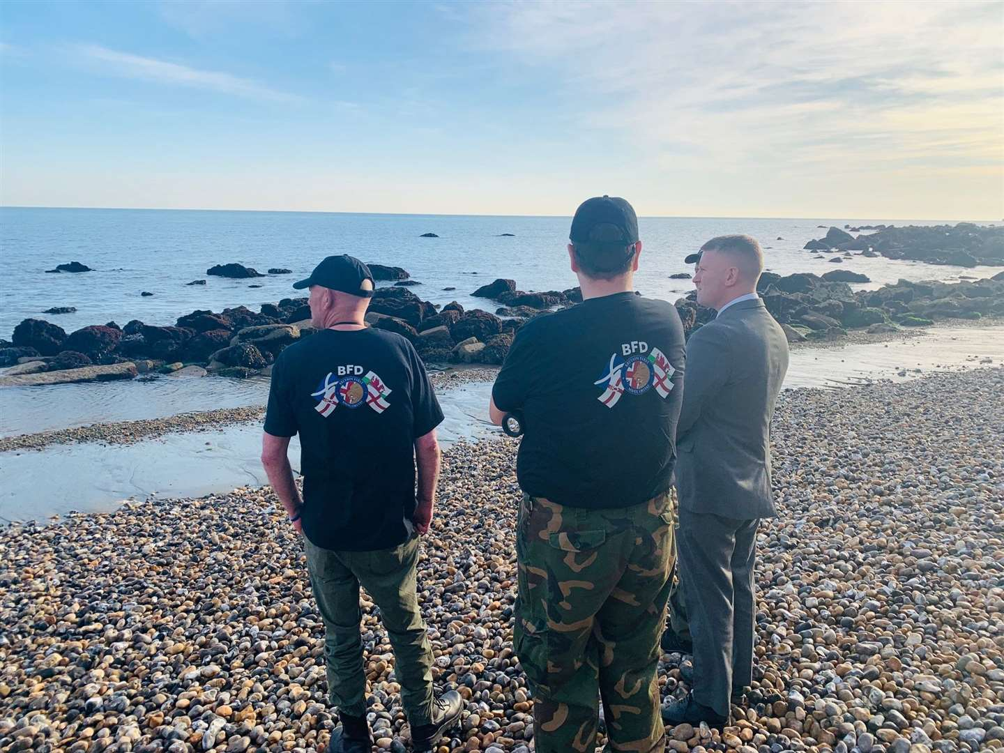 Britain First members, with leader Paul Golding, on beach patrol in Dover last Saturday. Picture: Britain First