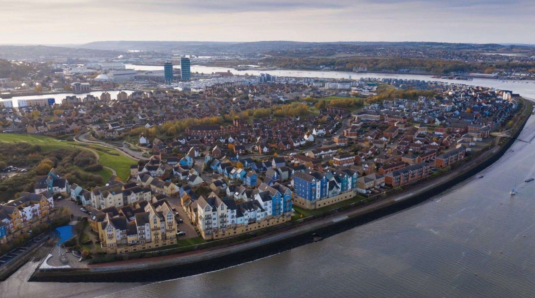 St Mary's Island has seen huge changes in the last few decades as shown by this picture from a drone. Picture: Geoff Watkins