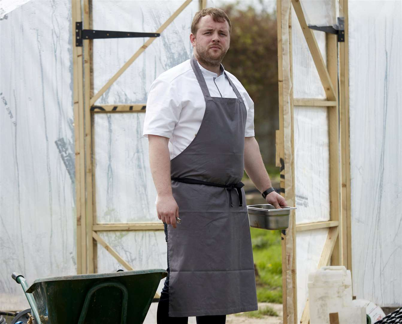 Most of the food served at chef Will Devlin's restaurant is grown on his small holding. Picture: SWNS