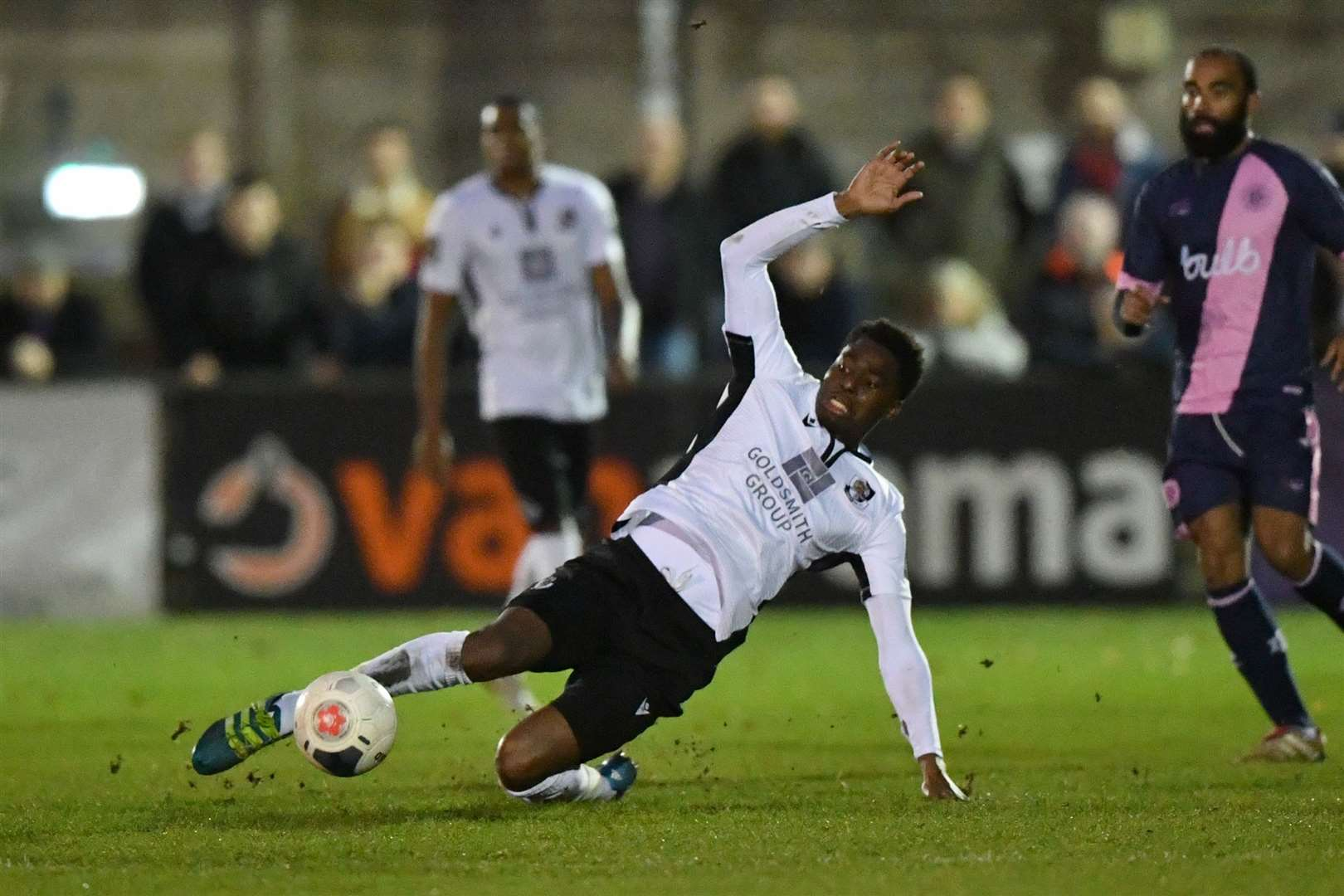 Jordan Wynter slides in on his return to the Dartford side. Picture: Keith Gillard