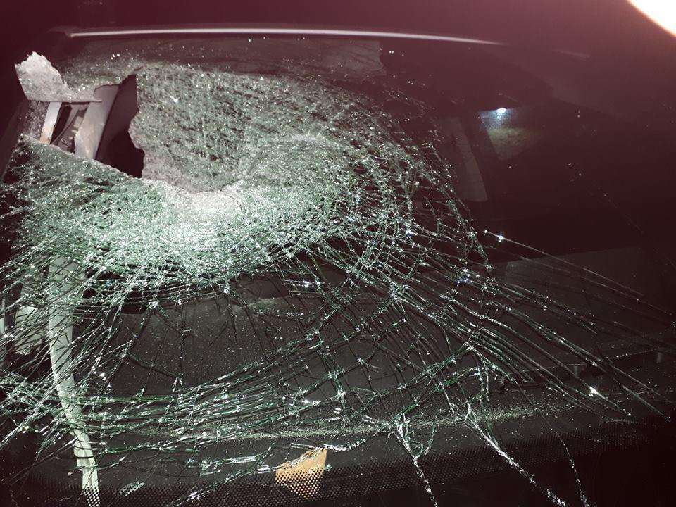 The damaged windscreen of Jackie Barrett's car after a brick was thrown from the A2 near Brenley. (7615989)