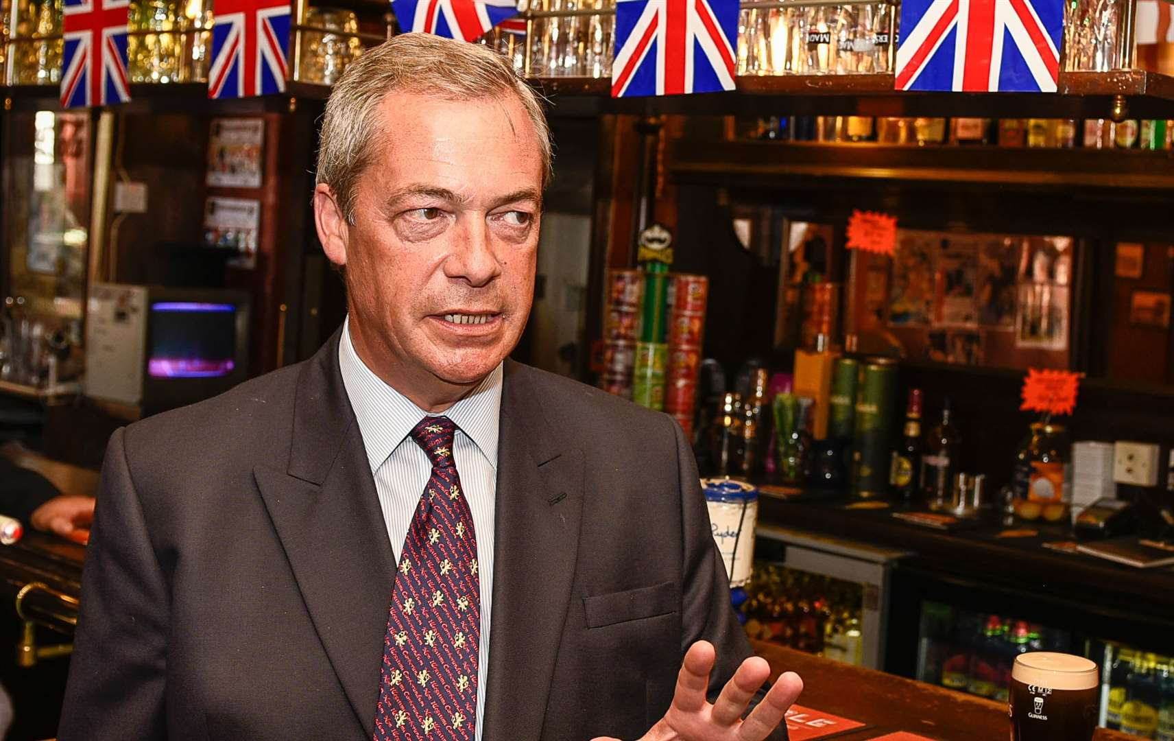 Pint-drinking politician Nigel Farage has been banned from his local pub. Picture: Alan Langley