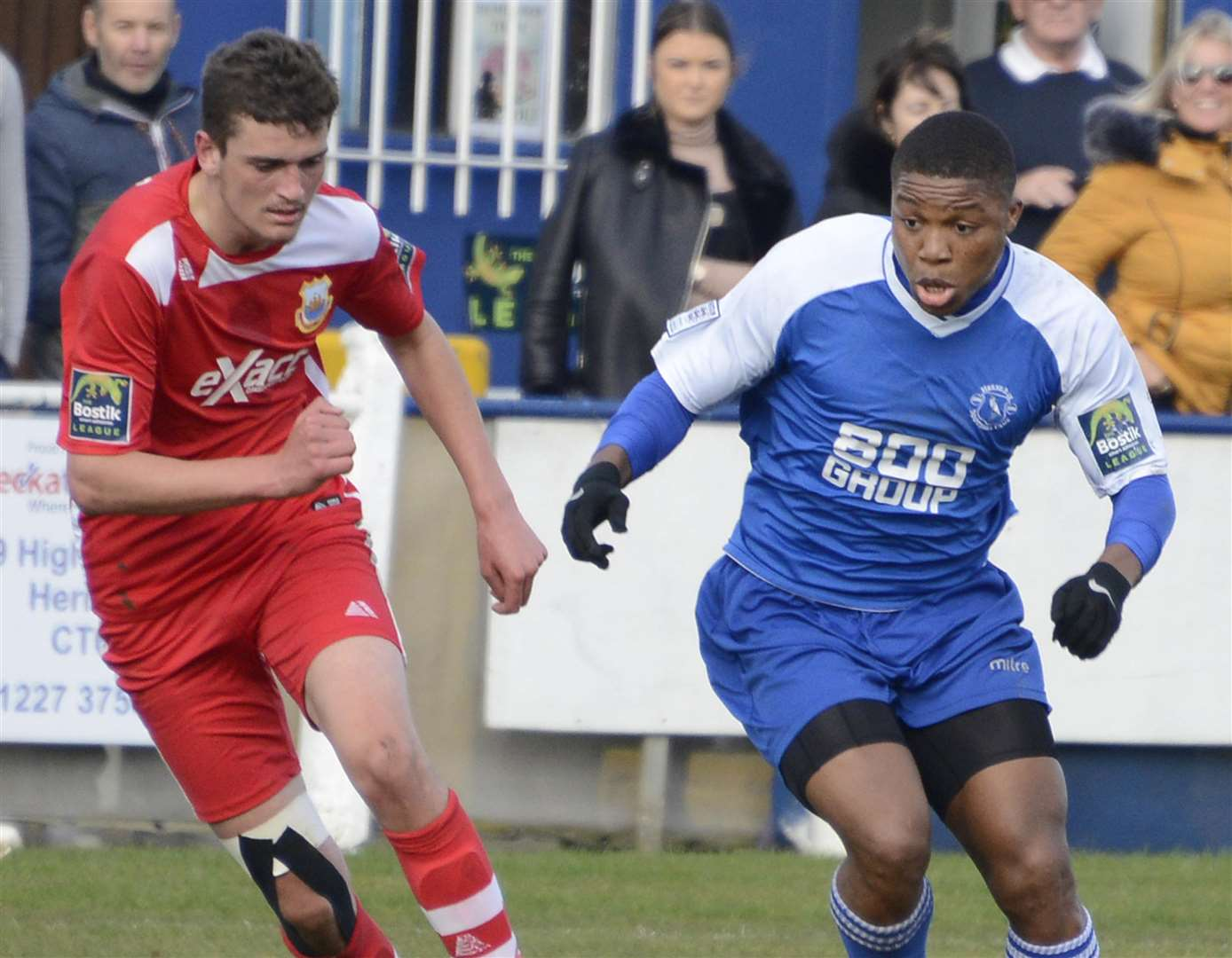 Herne Bay goalscorer Ronald Sobowale, right, in action against Whitstable Picture: Paul Amos