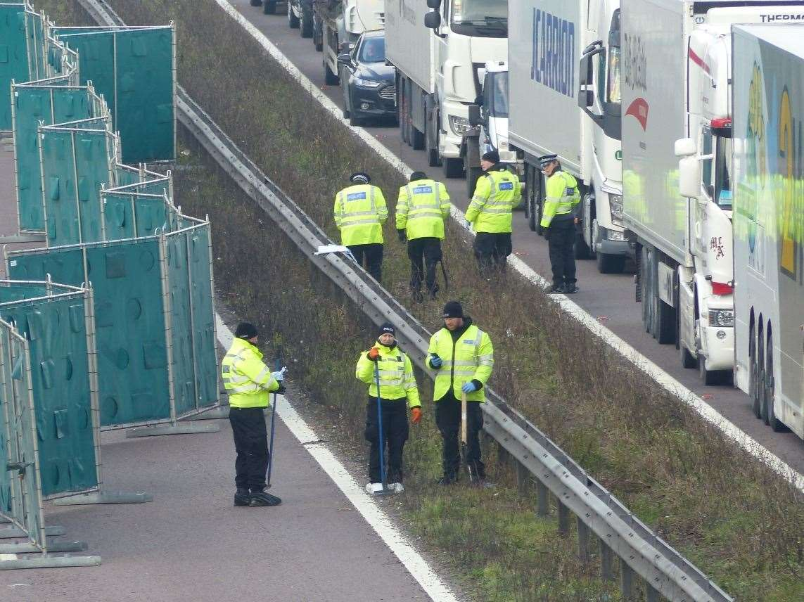 Police on the M20 last year. Picture: Andy Clark