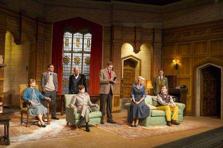 The cast of the UK tour of the Mousetrap, from left, Jan Waters as Mrs Boyle, Bruno Langley as Giles Ralston, Karl Howman as Mr Paravicini, Clare Wilkie as Miss Casewell, Thomas Howes as Sgt Trotter, Jemma Walker as Mollie Ralston, Graham Seed as Major Metcalf, Steven France as Christopher Wren. Picture Helen Maybanks.