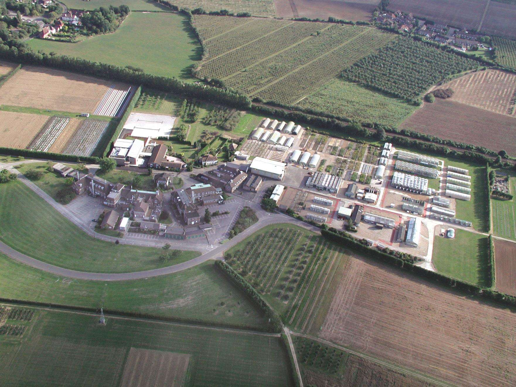 An aerial view of the research site. Picture: East Malling Research Centre