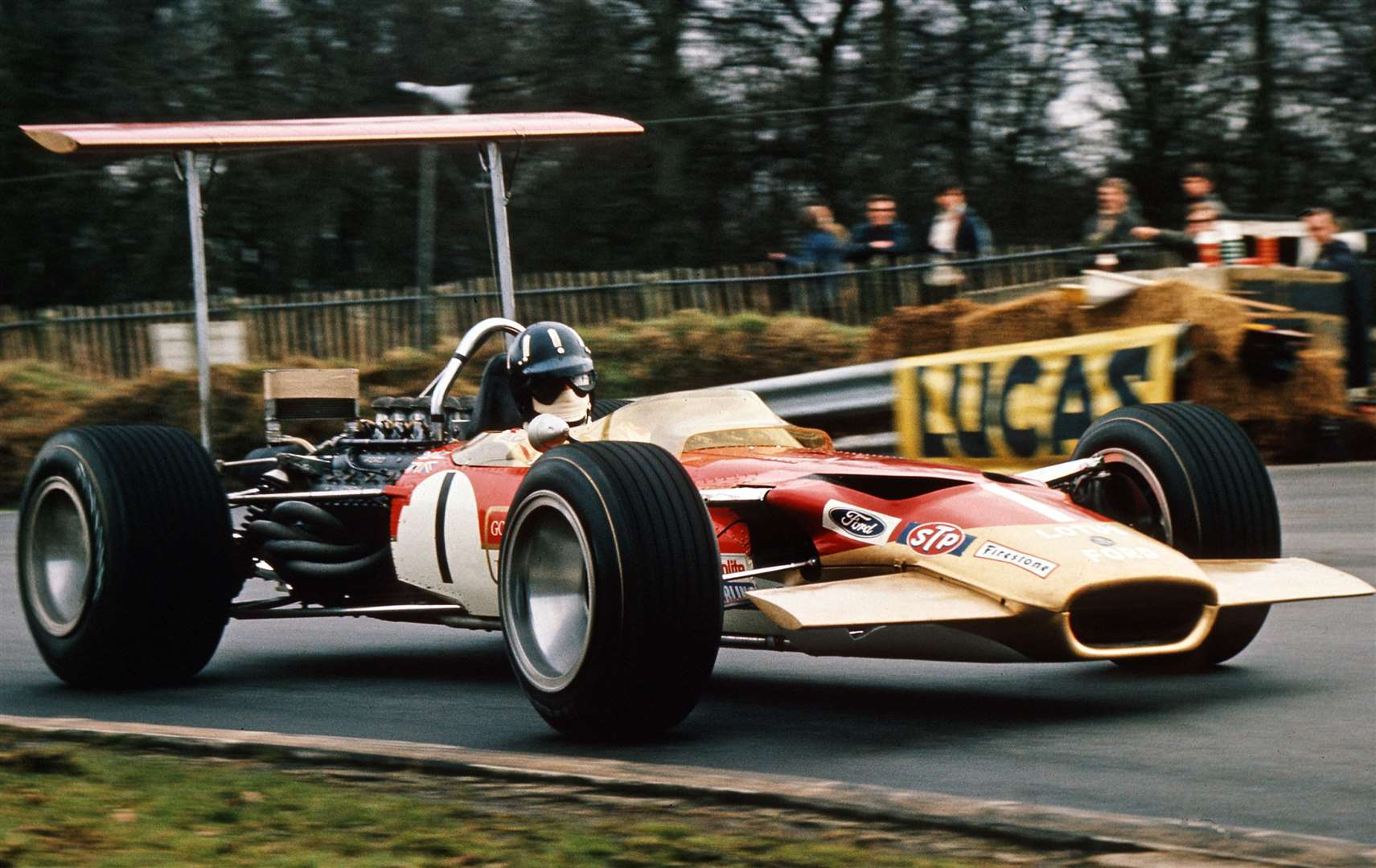Graham Hill fighting it out in the 1969 Race of Champions at Brands Hatch. Picture: MSV
