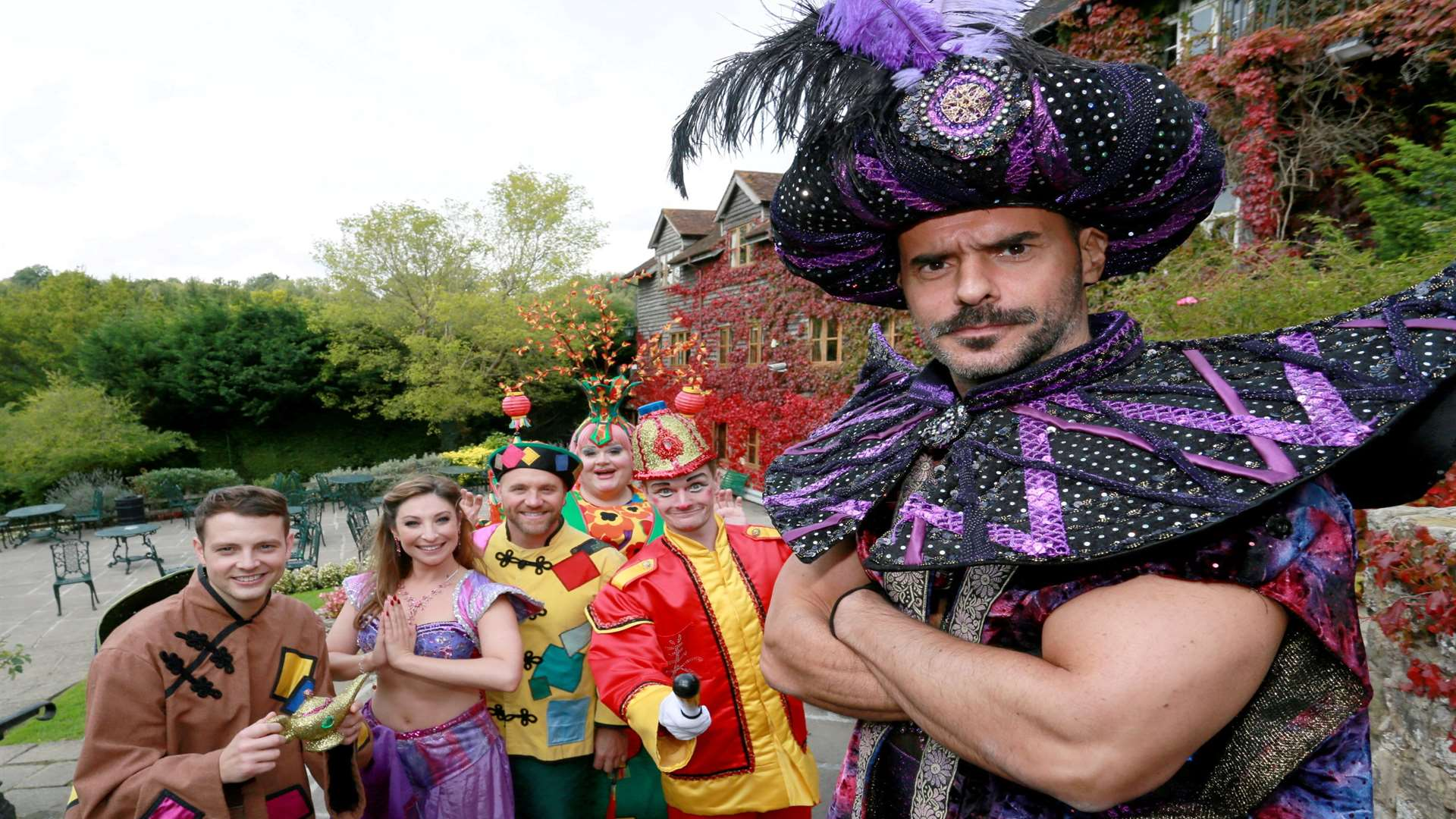 The cast of this year's panto Aladdin at the Assembly Halls in Tunbridge Wells, starring Michael Greco, right