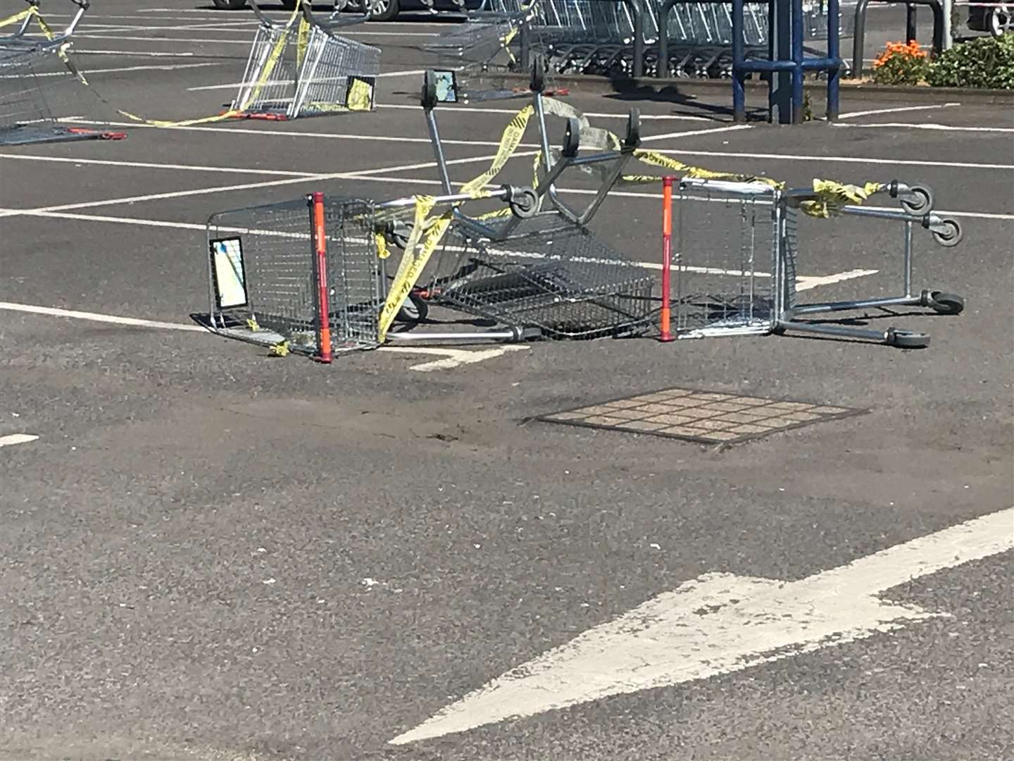 Trolleys have been used to block a sinkhole in Sainsbury's car park in Aylesford (10360993)