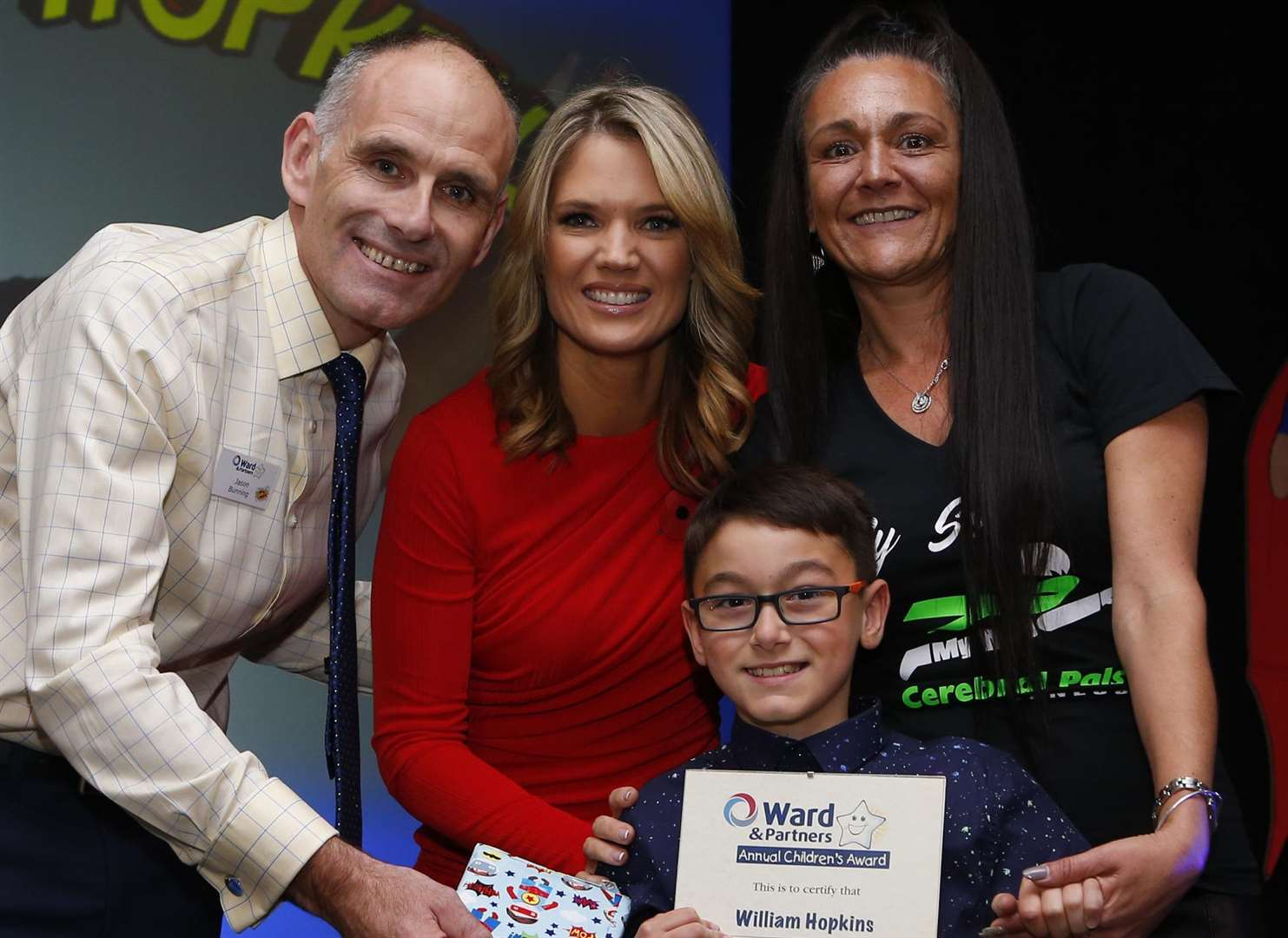 Ward and Partners Annual Children's Awards Going for Gold winner William Hopkins with Senior Director of Lettings Jason Bunning & Charlotte Hawkins..Mercure Great Danes Hotel in Maidstone. Picture: Andy Jones.