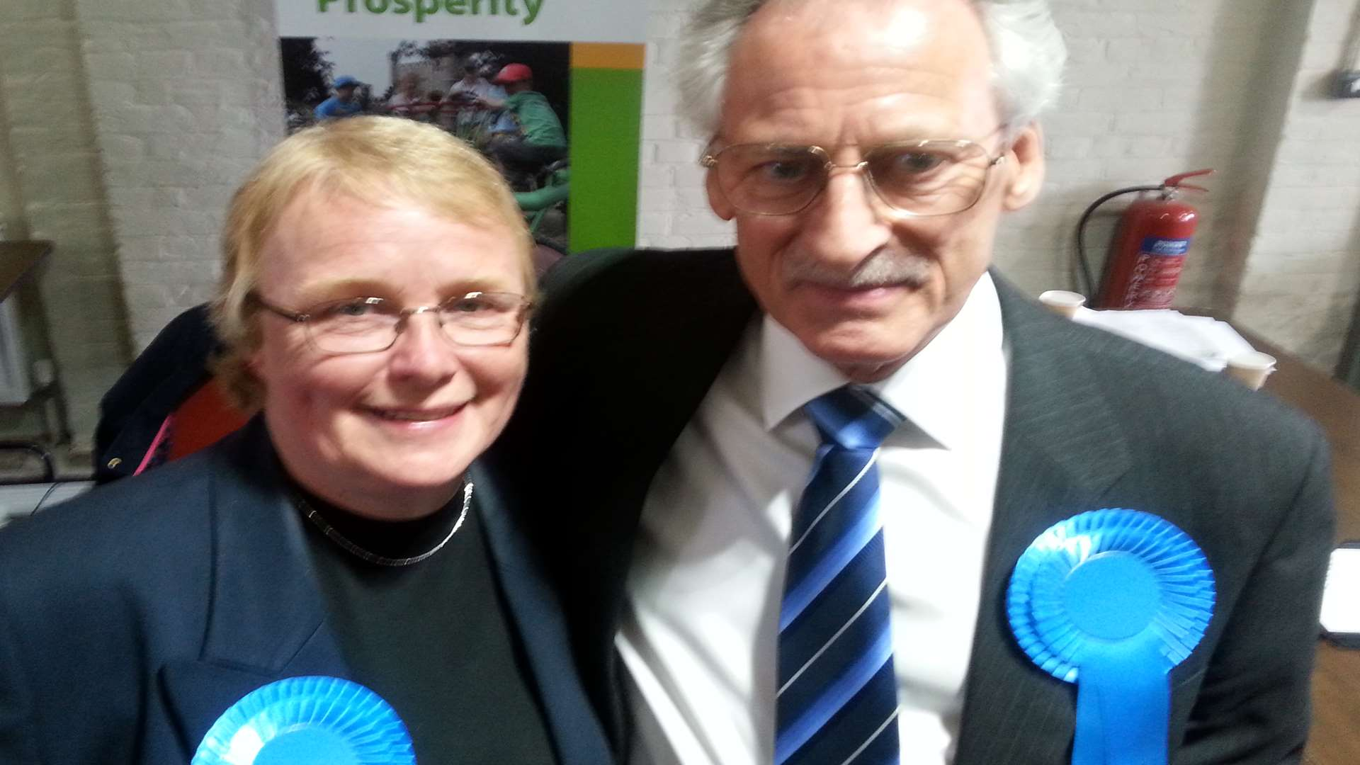 Terry Westgate celebrates his win with Tory supporter Sally Pickersgill
