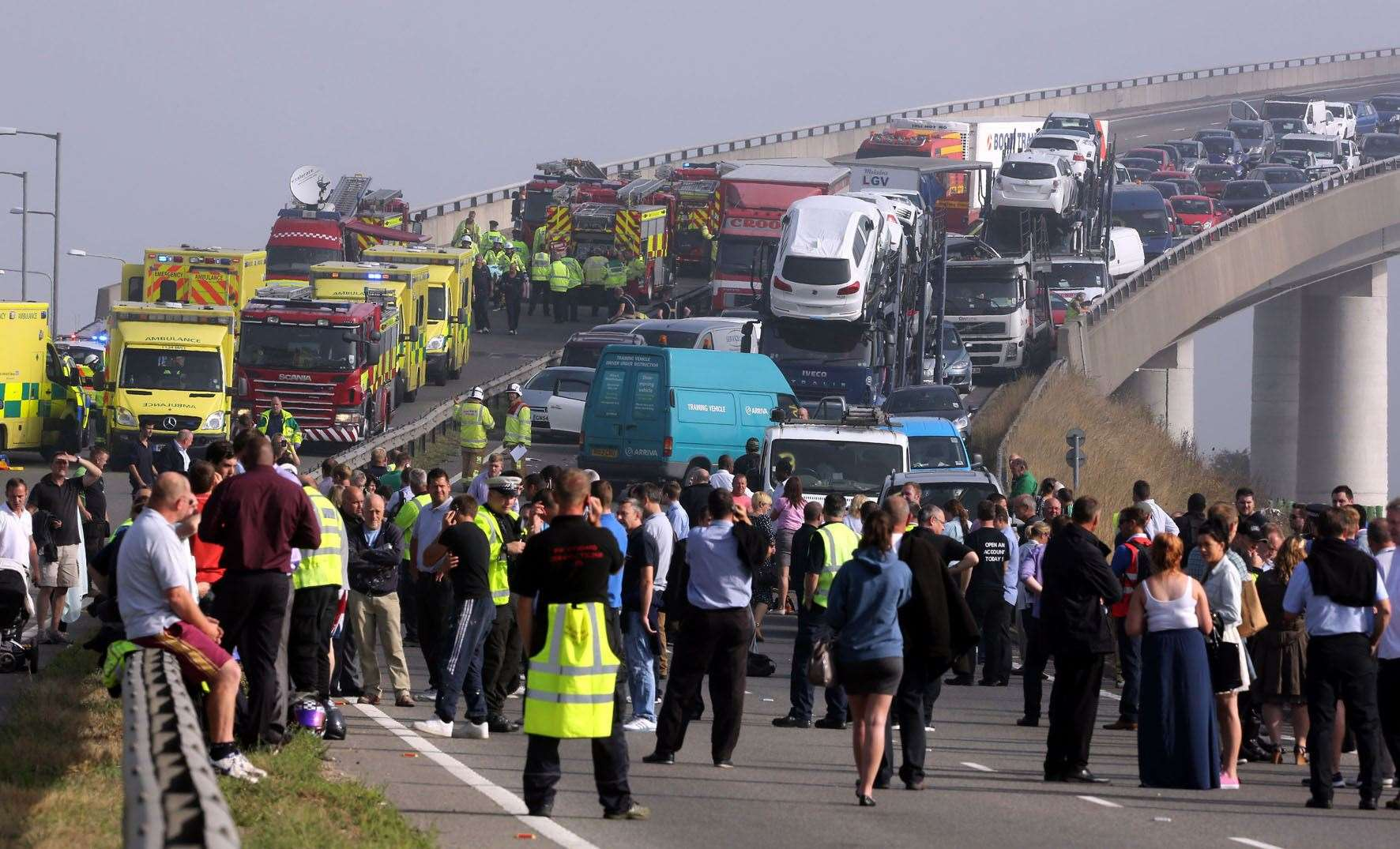 A general view of the scene on the London bound carriageway of the Sheppey Bridge Crossing