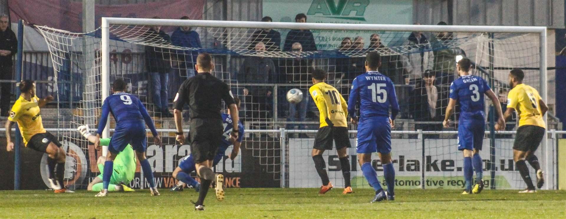 Jai Reason puts Dover ahead at Eastleigh on Saturday Picture: Tom Mulholland