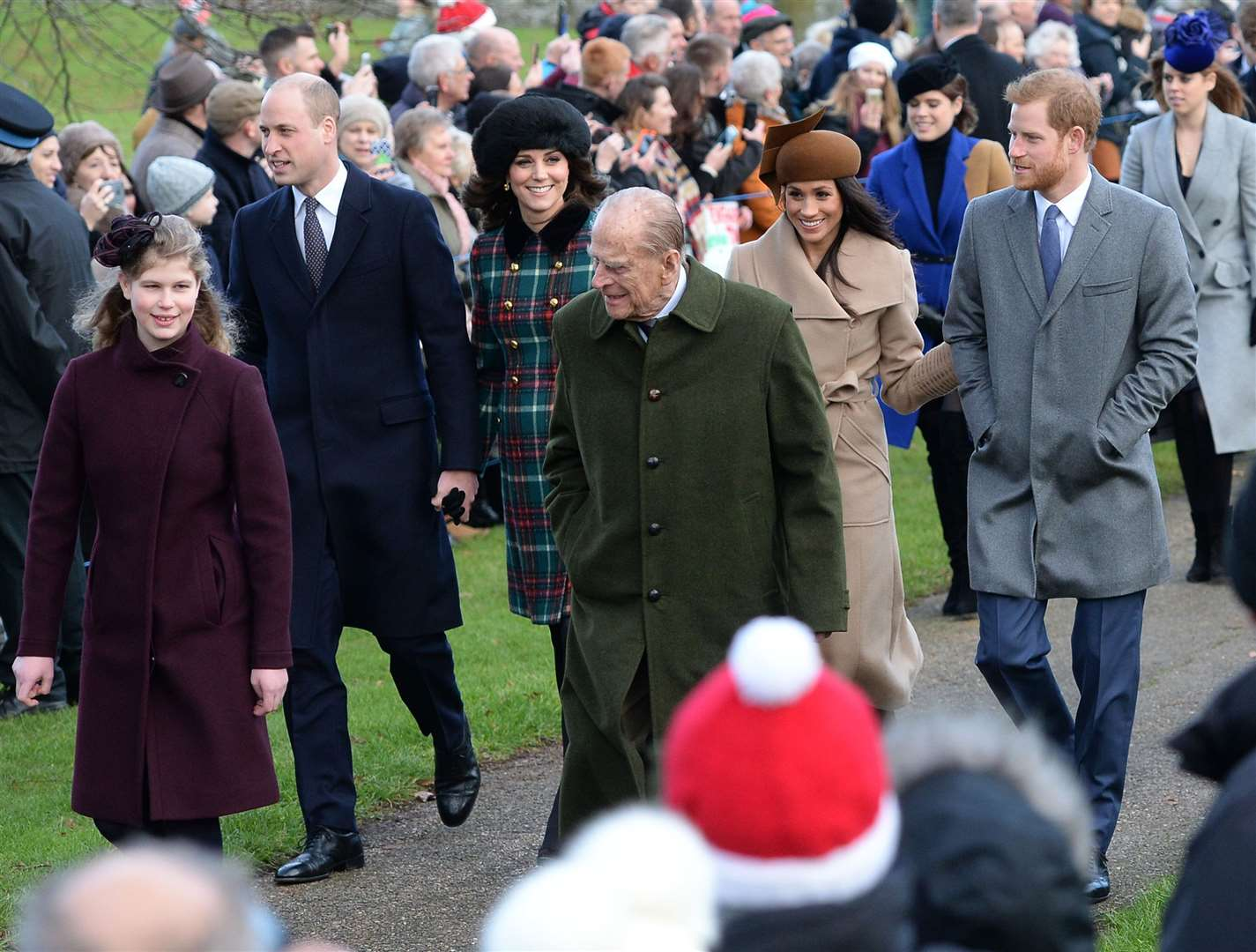 Lady Louise Windsor, the Duke of Edinburgh, the Cambridges and Sussexes on Christmas Day in 2017 (Joe Giddens/PA)