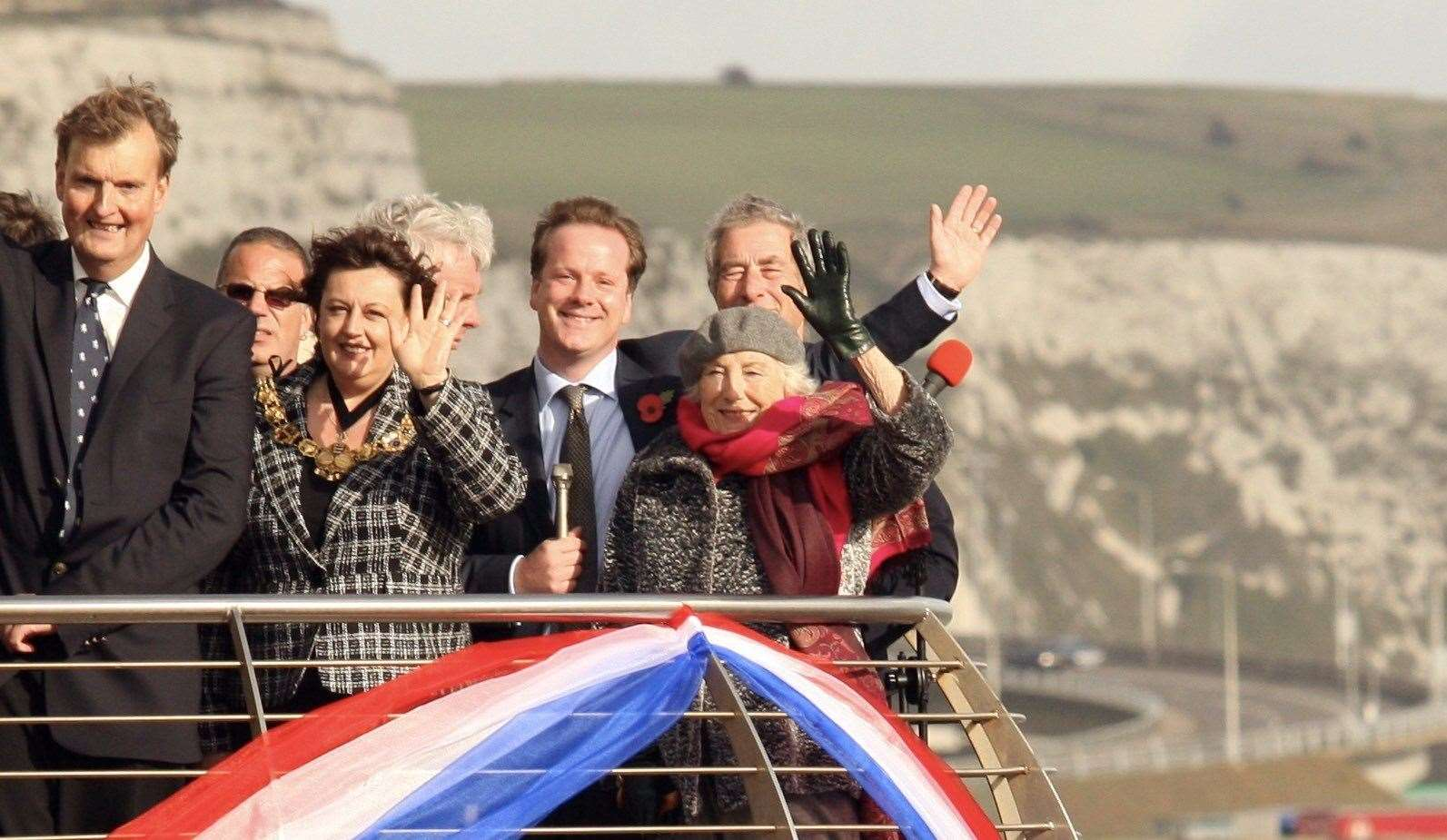 Charlie Elphicke with Dame Vera Lynn during the People's Port campaign