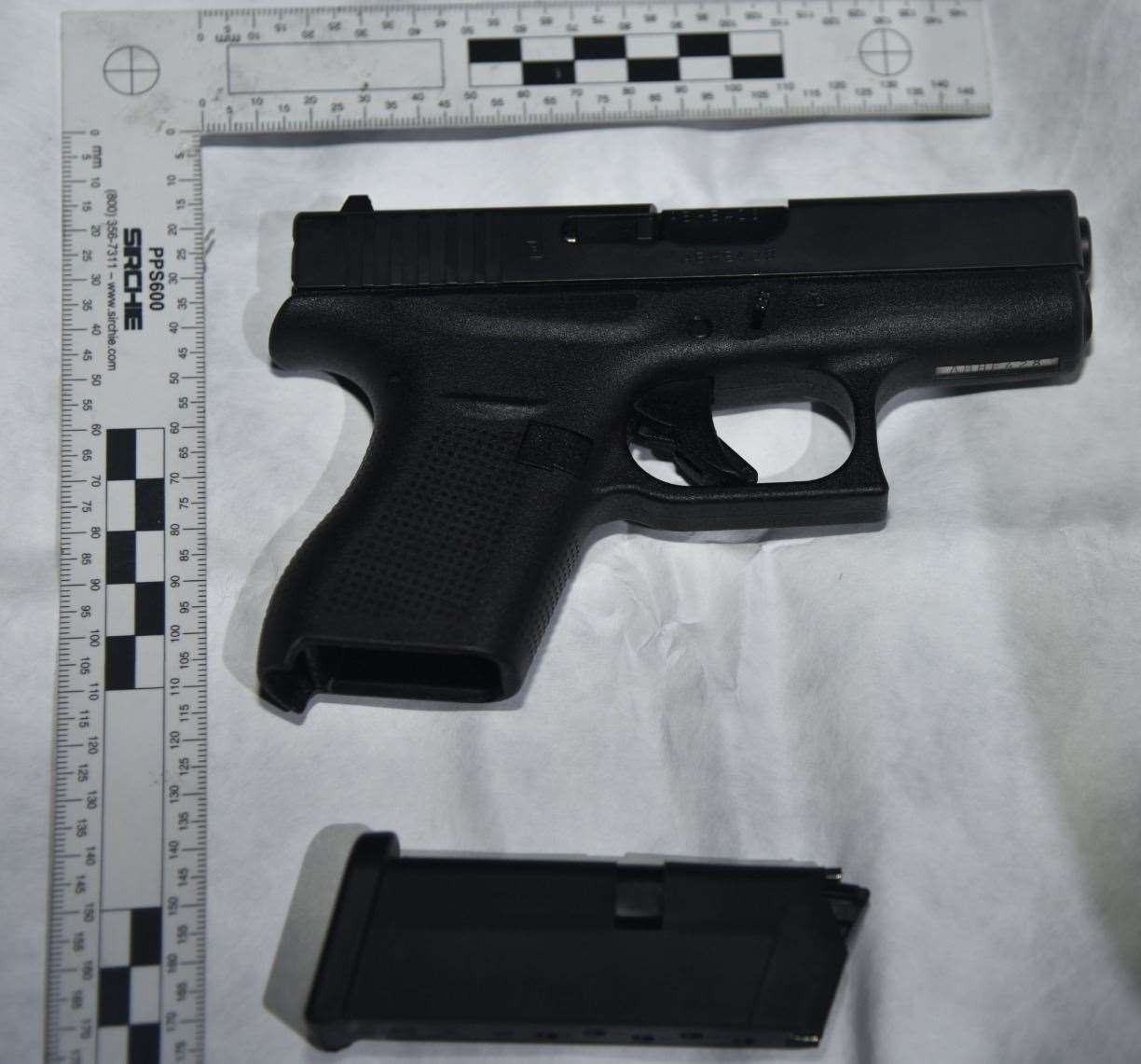 A Glock pistol similar to the one used to threaten the Marden couple.  Photo NCA